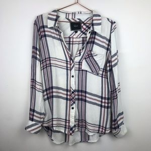 Rails Butter Soft Plaid Pocket Button Up Top Small